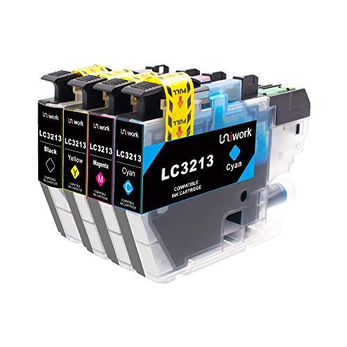 Uniwork LC3213 Druckerpatronen Kompatibel für Brother LC3213 LC-3213 für Brother MFC-J497DW DCP-J572dw DCP-J772DW DCP-J774DW MFC-J890DW MFC-J895DW Drucker (1 Schwarz, 1 Cyan, 1 Magenta, 1 Gelb) - 1 Magenta Tintenpatrone