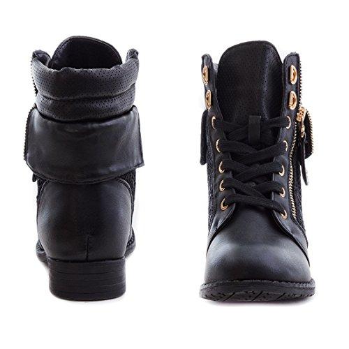 Marimo24 #Trendboot Damen Kurzschaft Stiefeletten Schnür Boots in hochwertiger Lederoptik Übergrößen bis 43 Schwarz