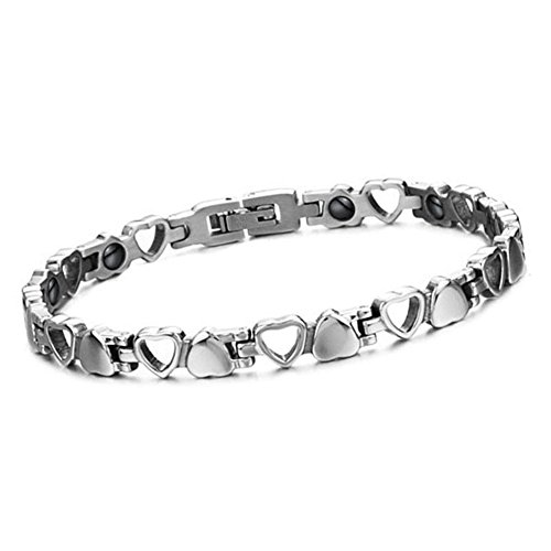 Cupimatch Herren Damen Magnetarmband, elegant Herz Lieben Magnet Therapie Edelstahl Armband Armreif Gesundheitsarmband, silber