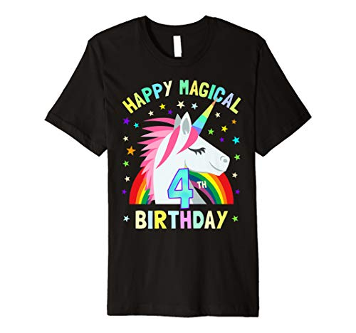 Its My 4th Birthday Shirt Girls Boys Unicorn Happy Magical