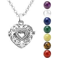 JOVIVI - Ciondolo chiama-angeli, gabbietta apribile a forma di cuore, in argento con strass e con 7pietre da Ø 16mm, catenina da 71cm