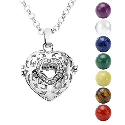 Jovivi, collana con ciondolo chiama angeli apribile, con gabbietta a forma di cuore, 7sfere dell'armonia di diametro di 15 mm e con catenina di 71,1cm (lingua italiana non garantita)