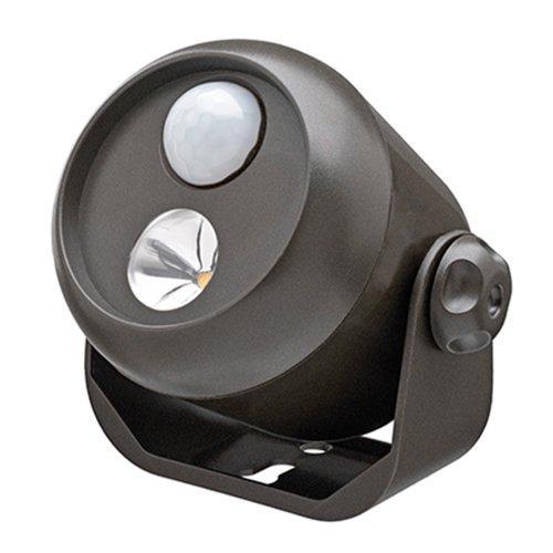Mr Beams drahtloser, batteriebetriebener LED Mini Scheinwerfer mit Bewegungsmelder und Lichtsensor braun MB310