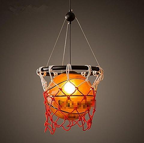 Lunettes de fer Lustres de basketball Lustres rétro lumineux créatifs Chambre d'enfant Lustres de basket-ball individuels (Diamètre 32cm, Hauteur 58cm)