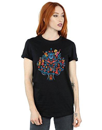 Disney Damen Coco Tree Pattern Boyfriend Fit T-Shirt Schwarz