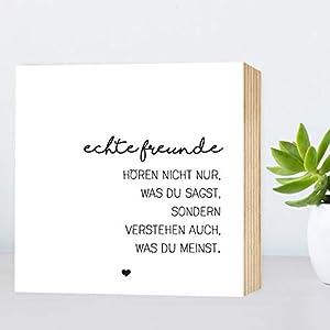 Echte Freunde - einzigartiges Holzbild 15x15x2cm zum Hinstellen/Aufhängen, echter Fotodruck mit Spruch auf Holz - schwarz-weißes Wand-Bild Aufsteller zur Dekoration oder Geschenk