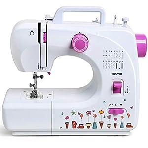 Homever Nähmaschine, Mini Nähmaschine Elektrische Klein 16 Nähprogramme Haushaltsgeräte für Anfänger Kinder DIY Begeisterte(Aufkle Umfassenber)
