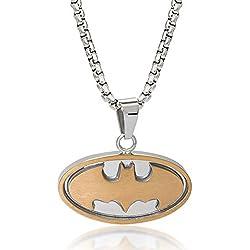 """DC Comics Hombres de la joyería Batman Logo de Dos Tonos de Acero Inoxidable Colgante, 22"""""""