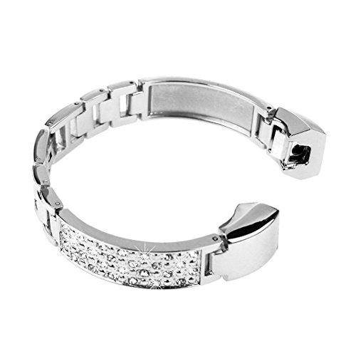 Für Fitbit Alta HR Gurt, angolf Fitbit Alta Edelstahl Strass Armband Band Smart Watch Ersatz Riemen Metall Schnalle Schließe für Fitbit Alta/Fitbit Alta HR Fitness Armband