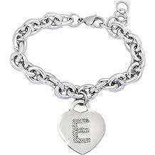 95c151a5ec Beloved ❤ Braccialetto donna con cristalli in acciaio con lettera - bracciale  con iniziale charm