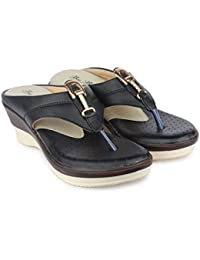 Big Bird Black Colored Designer Buckle Style Strap With Comfortable Padded Sole Slippers For Women | Girls | Modern...