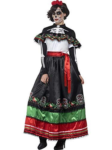 Luxuspiraten - Damen Frauen Kostüm authentisches Tag der Toten Senorita Kleid ,Day of The Dead Senorita Dress perfekt für Halloween Karneval und Fasching, S, Schwarz