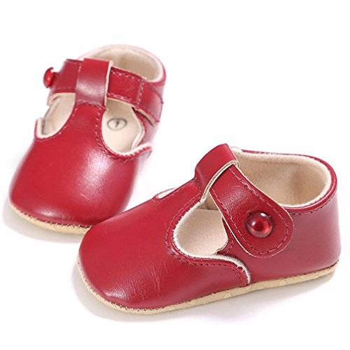 Antiderrapante nascida ~ Jamicy® Preto Criança Babyschuhe 18monat Macia Couro Recém 12 Sola Vermelho Criança 4qIt4y6T