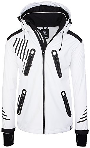 Rock Creek Herren Softshell Jacke Outdoorjacke Windbreaker Übergangs Jacke H-140 [White 4XL]