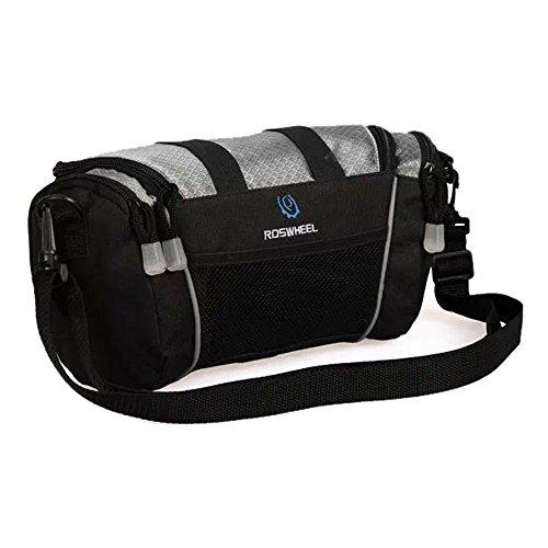 Dual-use -Paket Fahrradtasche tragbar Fahrrad Lenkertasche Umhängetasche Multifunktions Hüfttasche Vorderseite Tube Korb Tasche Bag mit abnehmbarem Schultergurt silbergrau