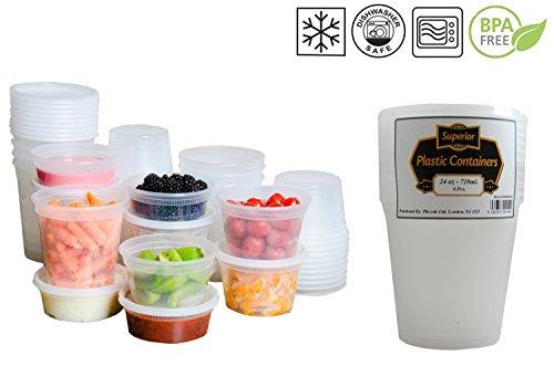 In plastica a prova a microonde, Freezer, contenitori per alimenti, con coperchio, ideale per cucinare piatti pronti per lotti, plastica, 24oz - 710ml