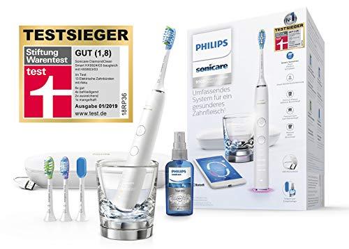 Philips Sonicare DiamondClean Smart Schallzahnbürste HX9924/03 mit 5 Putzprogrammen, 3 Intensitäten, Ladeglas, USB-Reiseetui & 4 Bürstenköpfen - schonendes Putzen dank Drucksensor - Weiß -