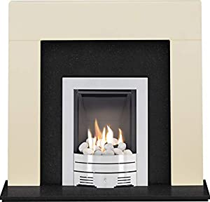 The Miami Cream & Black Granite with Crystal Diamond Contemporary Gas Fire Brushed Steel, 48 Inch