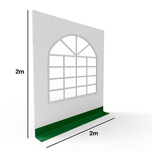 TOOLPORT PVC Seitenteil für Partyzelt Pavillon Gartenzelt 2x2m Seitenwand mit Fenster (rundbogen) grün-weiß