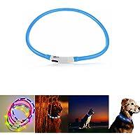Case Wonder - LED Leuchthalsband Hunde Halsband - USB Wiederaufladbar - Längenverstellbarer Haustier Sicherheit Kragen / Blinkende Kragen Deluxe für Hunde und Katzen - Improved Hund Sichtbarkeit & Sicherheit - 3 Lights Mode & 8 Farben (Blau)
