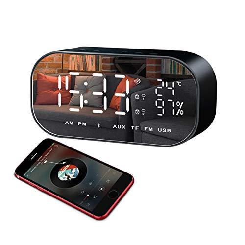 Radio Wecker mit Bluetooth Lautsprecher, LED Spiegel Uhr für Schlaf zimmer mit Thermometer, Dimmbare LED Anzeige, Dual Alarm mit Snooze, TF-Kartensteckplatz, FM Radio/AUX IN (schwarz) (Alarm-radio-bluetooth-uhr)