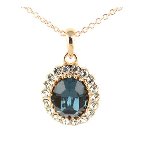 TEJ Swarovski Elements-Collana con ciondolo con zaffiro, placcati oro, 18 ct, idea regalo per donne e ragazze, In confezione regalo