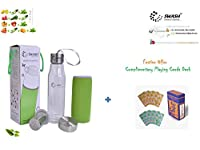 SWASH brand premium Detox water cum Green tea glass bottle with a bottom infuser cum filter