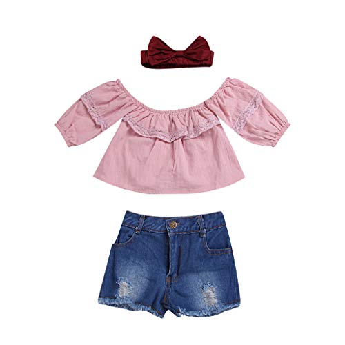 JUTOO 2 Stücke Set Kleinkind Baby Mädchen Schulterfrei Solide Tops + Jeans Shorts Outfits Set (Rosa,80)