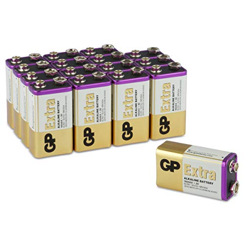 GP Extra Alkaline 9Volt Block Batterien (6LR61, MN1604, 9V E-Block) Spannung: 9 Volt, ideal für die Stromversorgung von Geräten des täglichen Bedarfs (16 Stück Blockbatterien)