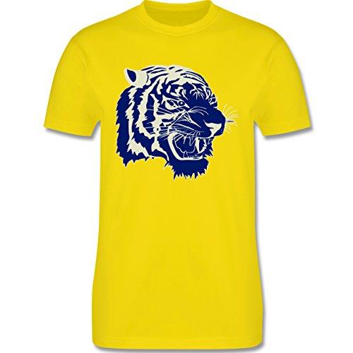 Wildnis - Tigerkopf - Herren Premium T-Shirt Lemon Gelb