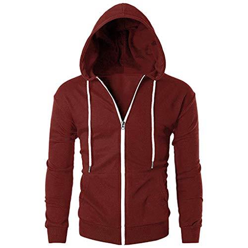 Xmiral Herren Outwear Langarm-Reißverschluss-Hoodie mit Tasche Slim Fit Bluse winterMäntel(EU 50,Rot)