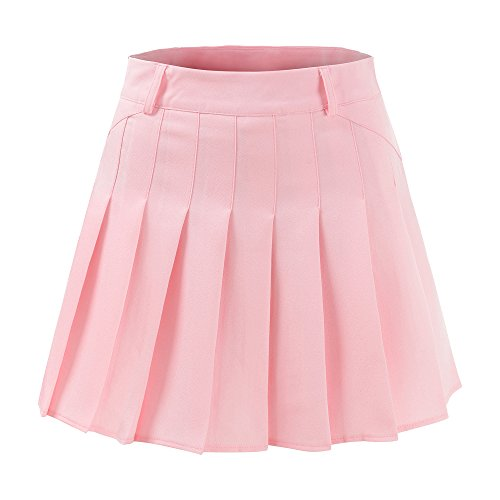 Ourlove Fashion School Pleat Uniform Pleated Skirt Slim Thin Pleated Skater Tennis Skirts Mini Dress With Inner Shorts (UK 12 (Tag XL), Pink)