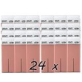 Caja de 24 x Cera Roll On cartuchos de 100ml Rosa - Alta calidad - Roll-on Cera para depilación