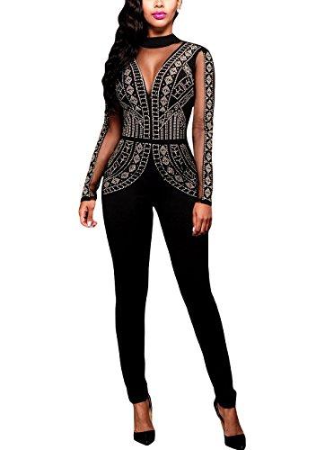 shelovesclothing nuovo da donna nero Steampunk con pattern maglia Sheer inserto tuta partito di sera Black M