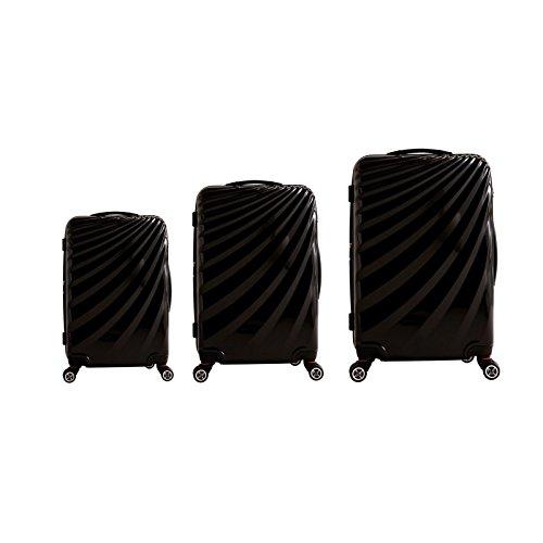 Trolley - Koffer - Set im außergewöhnlichen Design in Schwarz - XXL-Light - Polycarbonat - XXL-Light - 77/67/58cm - Dehnfalte - viel Volumen