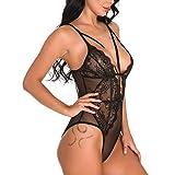 FOTBIMK Lingerie Sexy Femme Coquine Ouverte-Nuisette Sexy Femme Dentelle Pas Cher-Femmes Cils Dentelles Nuisettes Vetements de Nuit V-Cou Vetement de Nuit Sexy Babydoll Noir XL