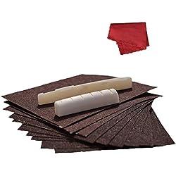 MagiDeal Knochen Sattel und Nuss Satz+9tlg. Schleifpapier Schleifwerkzeug+Reinigungstuch für Gitarre