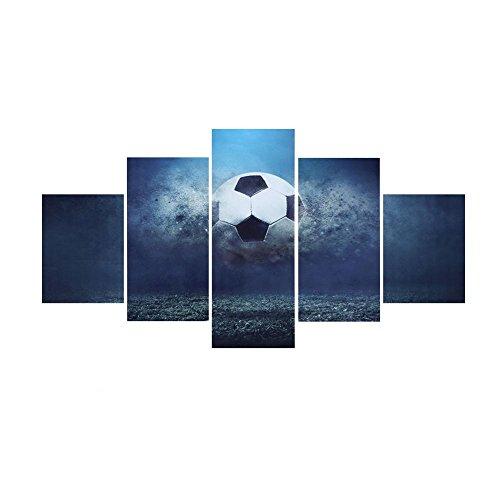 Pintura de Pared de Lona Césped de Fútbol 5 Paneles Imagen Impresa Arte de Decoración de Dormitorio de Oficina en Casa Socialme-EU(S)