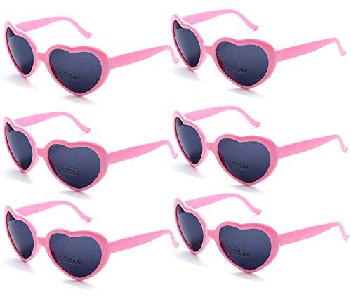 Fsmiling 6 Stück Neon Farbige Herz Sonnenbrille für Kinder Mädchen Damen Party und Festival (Rose Brille)