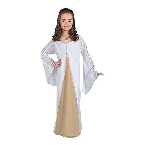 Arwen - Herr der Ringe Kostüm für Kinder, Elben Prinzessin Kleid, weiß - S (Arwen Von Herr Der Ringe Kostüm)