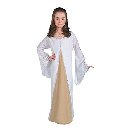 Arwen - Herr der Ringe Kostüm für Kinder, Elben Prinzessin Kleid, weiß - S