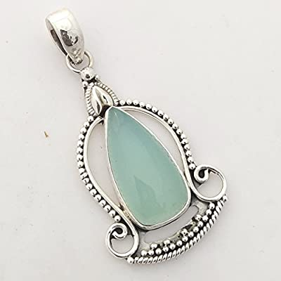 Natural Aqua Chalcedony Solid 925 Sterling Silver Buddha Pendant