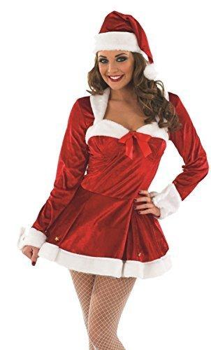 Weihnachten Mrs Missy Claus Weihnachtsmann-Kostüm Outfit UK 8-22 Übergröße - Rot, Rot, 8-10 (Mrs Claus Kleid Kostüme)