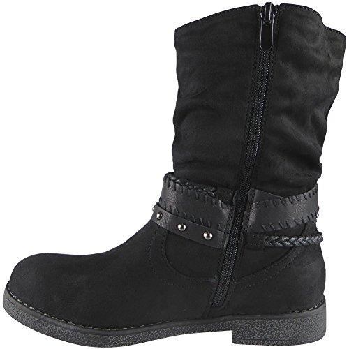 Da donna Studs medio Vitello Piatto Caviglia Boots Dimensione 36-41 Nero