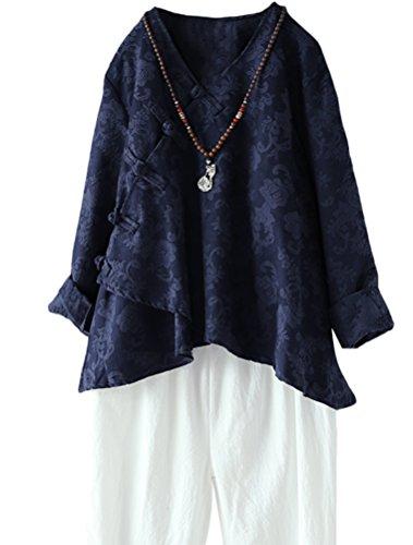 MatchLife Damen Bluse Leinen Langarm Tunika Casual Jacquard Oberteile Vintage Asymmetrisch Top Blau M -