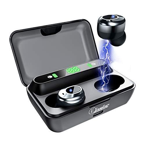 Elecder D12 Bluetooth-Kopfhörer mit LED Digitalanzeige Ladekoffer, Sport Kopfhörer mit Mikrofon In-Ear-Kopfhörer mit tiefen Bässen für den Sportlauf (Schwarz)