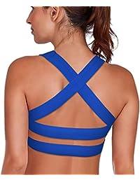 8b4ff19c51a DeepTwist Womens Sports Bras - High Impact Gym Running Workout Yoga Bra  Padded Criss Cross Straps