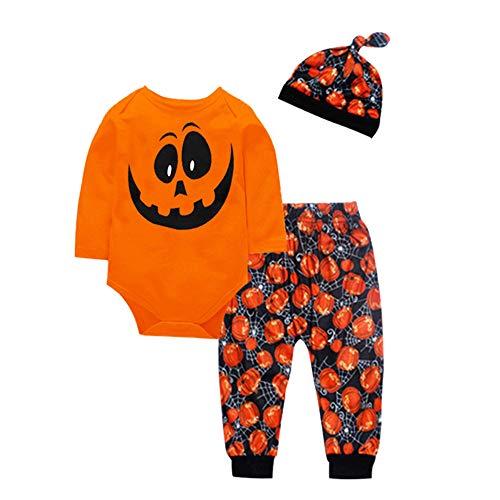 Jimmackey 3pcs neonato pagliaccetto, bebè lettera tutine body + zucca stampa pantaloni halloween vestito set