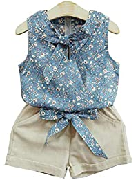 a192b8542 Two Pieces Baby Girls Summer Fashion Floral Tops and Shorts Set Sleeveless  Pullover Pants Clothes Suit