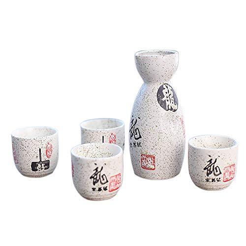 Panbado 5-teilig Japanisches Sake Set aus Steinzeug, mit 1 Sake Flasche und 4 Tassen in Einer Geschenkverpackung Sake Set